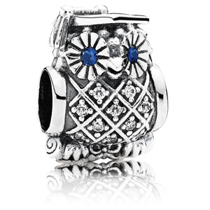 Graduate Owl Charm with Blue Crystal Eyes