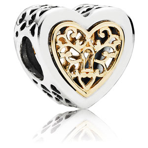 Locked Hearts Charm with 14K Gold