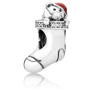 Christmas Stocking Charm with Enamel and Zirconia