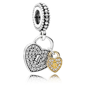 Love Locks Charm with Clear Zirconia