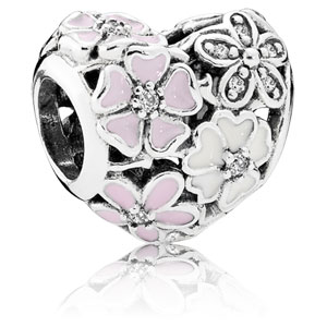 Retired Pandora Poetic Blooms Heart Charm With Mixed