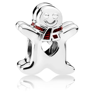 Sweet Gingerbread Man Charm with Red Enamel