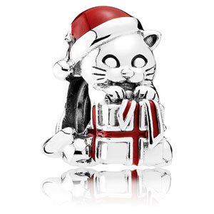 Christmas Kitten Charm with Red Enamel