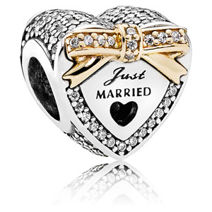 Just Married Wedding Heart Charm