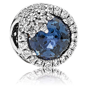 Dazzling Snowflake Charm with Blue Crystal