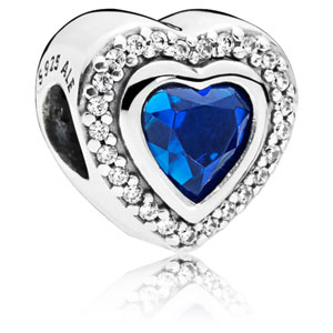 Sparkling Love Charm with Blue Crystal