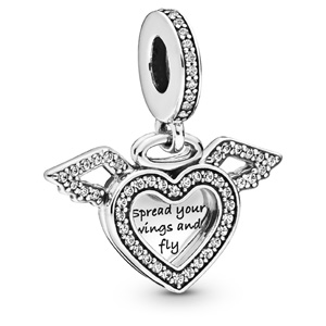 Heart and Angel Wings Dangle