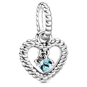 March Aqua Blue Beaded Heart Dangle