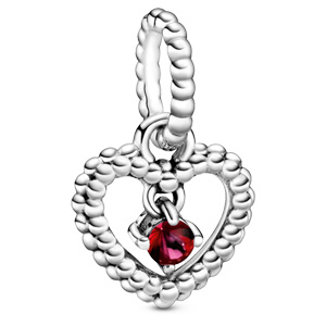 July Blazing Red Beaded Heart Dangle