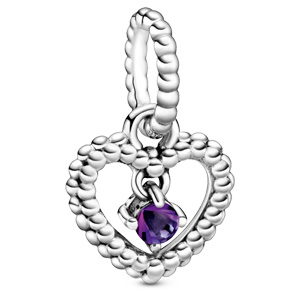 Purple Beaded Heart Dangle