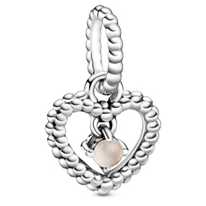 June Misty Rose Beaded Heart Dangle