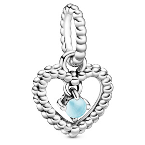 December Sky Blue Beaded Heart Dangle