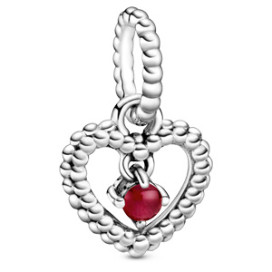 January Dark Red Beaded Heart Dangle