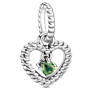 August Spring Green Beaded Heart Dangle