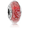 Red Shimmer Faceted Murano Glass Charm
