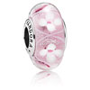 Pink Field of Flowers Murano Glass Charm