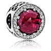 Radiant Hearts Charm with Cerise Crystal