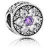 Forget Me Not Flower Charm with Purple Zirconia