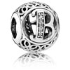 Vintage Letter B Charm with Clear Zirconia