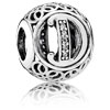 Vintage Letter D Charm with Clear Zirconia