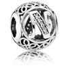 Vintage Letter N Charm with Clear Zirconia