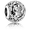 Vintage Letter P Charm with Clear Zirconia
