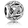 Vintage Letter Z Charm with Clear Zirconia