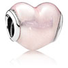 Glittering Heart Charm with Soft Pink Enamel